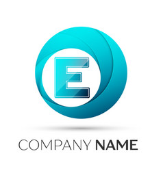 Letter e logo symbol in the colorful circle on vector
