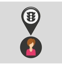 Light traffic pointer map girl design icon vector