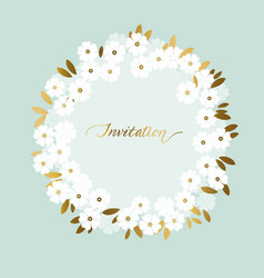 Luxury wedding white flowers with gold leaves vector