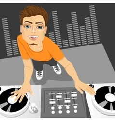 male disc jockey mixing the track vector image