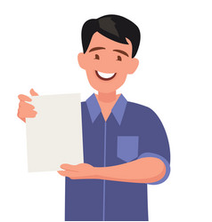man shows a sheet with contract vector image