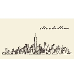 Manhattan New York hand drawn sketch vector