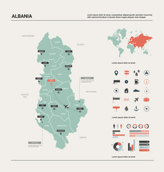 Map albania high detailed country vector