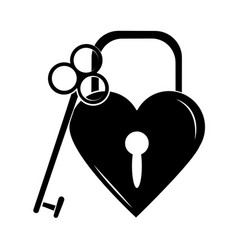 minimalist tattoo boho padlock shaped heart vector image
