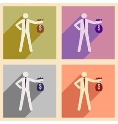 Modern collection flat icons with shadow man vector