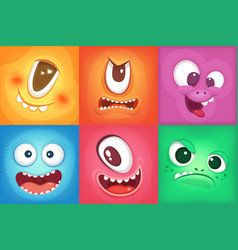 monster cartoon faces demon smiles and big crazy vector image