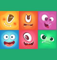 Monster cartoon faces demon smiles and big crazy vector