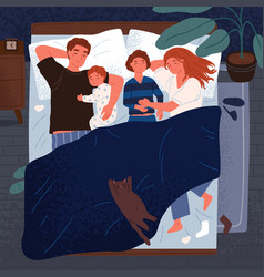 mother father and children sleeping together on vector image