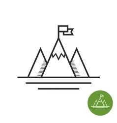 Mountain with flag on a peak logo vector