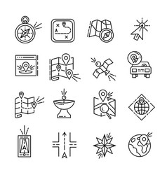Navigation icon set location line icons city map vector