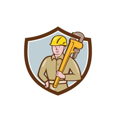 Plumber Holding Wrench Crest Cartoon vector image
