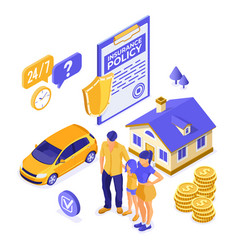 Property car house insurance isometric vector