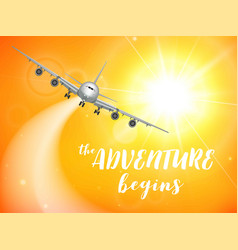 Realistic poster white airplane flying in the sky vector