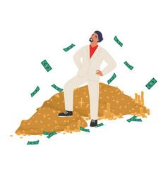 Rich man standing on cash money pile flat vector