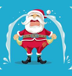 Sad crying santa with empty pockets cartoon vector