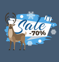sale 70 percent promotional poster with deer stag vector image