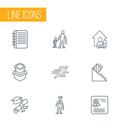 school icons line style set with physics school vector image