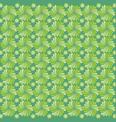 seamless background with flowers ornament green vector image
