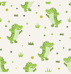 Seamless pattern cute happiness alligator vector