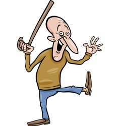 senior with cane cartoon vector image