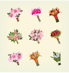 Set many bouquets flowers vector
