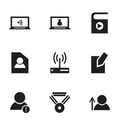 Set of 9 editable internet icons includes symbols vector