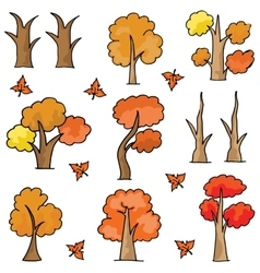 Set of autumn tree doodles vector