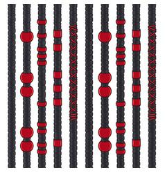 Set seamless patterns with black dreadlocks vector