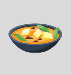 Soup plate in bowl isolated on white background vector