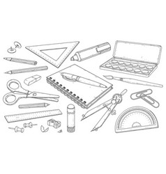stationery art materials line drawing pens and vector image