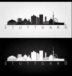 stuttgart skyline and landmarks silhouette vector image