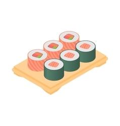 Sushi on tray icon cartoon style vector image