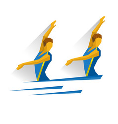 synchronized swimming girls swimmer in the water vector image