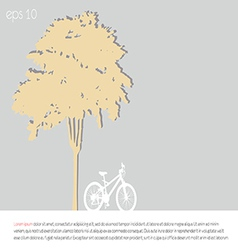 tree an bicycle over gray background vector image