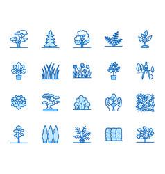 Trees flat line icons set plants landscape vector