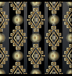 Tribal striped gold 3d seamless pattern vector