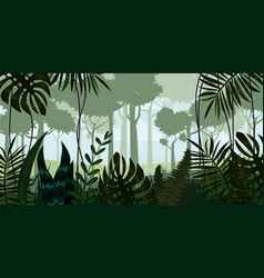 Tropical rainforest jungle landscape vector