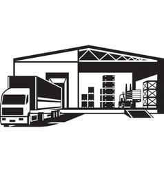 Truck loaded goods in warehouse vector