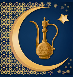turkish traditional decorated copper pitcher with vector image