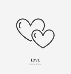 Two hearts flat line icon thin sign of vector