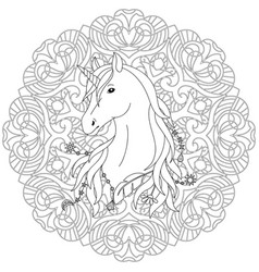 unicorn tattoo coloring page vector image