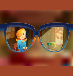 View from the glasses at woman customer vector