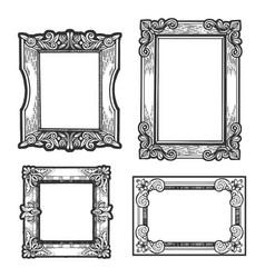 Vintage picture frames set sketch engraving vector