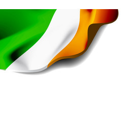 Waving flag of ireland close-up with shadow vector