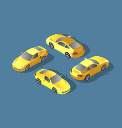 yellow car concept sedan automobile flat 3d vector image