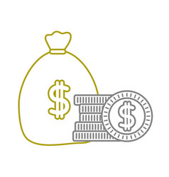 Yellow line money inside bag with peso symbol and vector