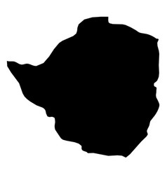 zimbabwe - solid black silhouette map of country vector image