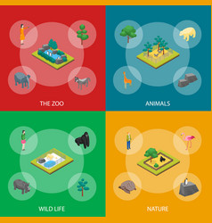 Zoo concept banner set 3d isometric view vector