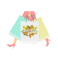 autumn sale design concept woman with paper vector image vector image