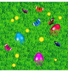 Background with grass easter eggs and flowers vector image vector image